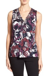 Women's Classiques Entier Open Stitch Inset Stretch Silk Top Burgundy Japanese Waterlily