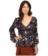 Brigitte Bailey Aisha Printed Bell Sleeve Top With Crochet Detail Navy Multi Women's Clothing