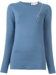 Stella Mccartney Shoulder Zip Jumper Blue