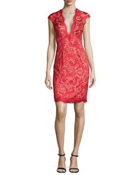 Jovani Deep V Illusion Beaded Cocktail Dress Red Red Nude