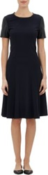 Derek Lam Faux Leather Sleeve Crepe Dress Blue