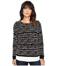 Calvin Klein Striped Twofer Long Sleeve Sweater Black Women's Sweater