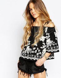 Kiss The Sky Globe Trotter Embroidered Cold Shoulder Top Black