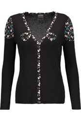 Anna Sui Printed Silk Blend Trimmed Ribbed Cotton Blend Cardigan Black