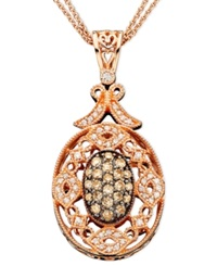 Effy Collection Espresso By Effy Diamond White And Champagne Diamond Medallion 3 4 Ct. T.W. In 14K Rose Gold
