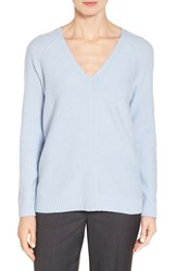 Nordstrom Women's Collection V Neck Cashmere Pullover Blue Feather