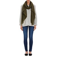 Barneys New York Women's Cashmere Fringed Scarf Dark Green