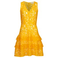 Michael Michael Kors Womens Lace Tier Dress Sunflower Yellow