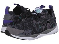 Reebok Furylite Soc Shark Gravel Black Glass Green White Team Purple Men's Shoes