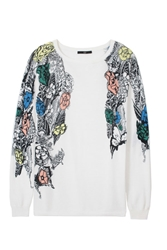Tibi Tattoo Printed Boatneck Pullover