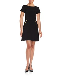 Helene Berman Button Front Sheath Dress Black