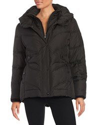 Larry Levine Zip Front Puffer Jacket Black