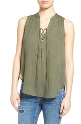 Women's Lush Lace Up Sleeveless Henley Top Dusty Olive