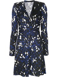 Issa Printed Wrap Dress Blue