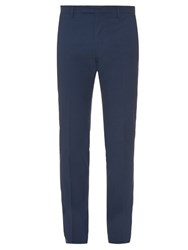 Incotex Slim Fit Diamond Weave Chino Trousers Navy