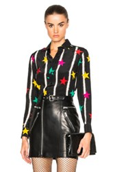 Saint Laurent Star Spray Crepe De Chine Blouse In Black Geometric Print Black Geometric Print