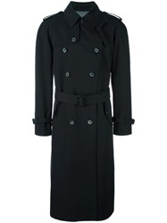 Alexander Mcqueen Double Breasted Trench Coat Black