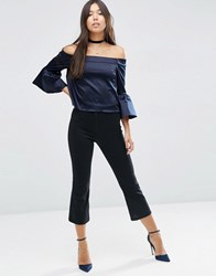 Asos Stretch Kick Flare Trousers Black