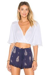 Band Of Gypsies Cross Front Crop Top White