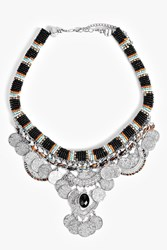 Boohoo Coin And Bead Statement Necklace Silver