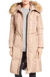 Eliza J Women's Faux Fur Trim Hooded Long Down Coat Taupe