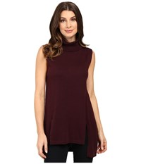 Vince Camuto Sleeveless Turtleneck Sweater With Front Slits Raisin Women's Sweater Brown