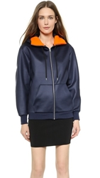 Alexander Wang Shiny Bonded Fleece Track Hoodie Ink