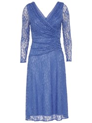 Gina Bacconi Floral Lace Ruched Dress Blue