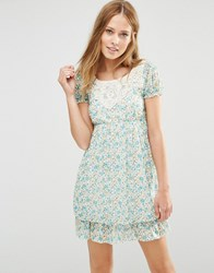 Pussycat London Dress With Crochet Top And Frill Hem Green