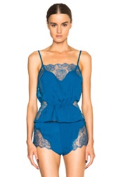 Fleur Du Mal Rose Lace Cami Top In Blue
