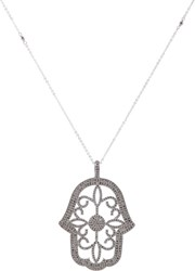 Feathered Soul Women's Oversized Hamsa Pendant Necklace Colorless