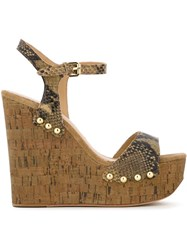 Ash 'Biba' Studded Snakeskin Effect Cork Wedge Sandals Nude And Neutrals