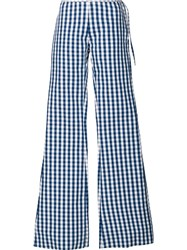 Marques Almeida Marques'almeida Checked Flared Trousers Blue