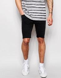 Pullandbear Denim Cut Off Shorts Black