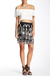 Anna Sui Chainstitch Embroidered Skirt Black