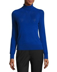 Milly Pointelle Detail Wool Turtleneck Gray Cobalt