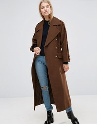 Asos Wool Trench Coat With Epaulette Detail Brown