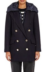 Moncler Women's Double Breasted Galatea Coat Colorless Navy