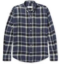 Ami Alexandre Mattiussi Button Down Collar Checked Flannel Shirt Navy