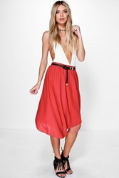 Boohoo Bohemian High Low Chiffon Midi Skirt Rust