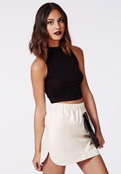 Missguided Curve Hem Faux Leather Skirt White