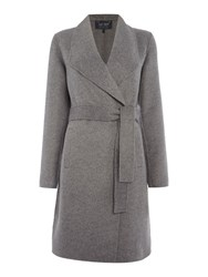 Armani Jeans Large Collar Wool Blend Belted Coat Grey