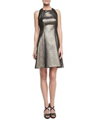 Phoebe Couture Halter Fit And Flare Breaded Dress Bronze