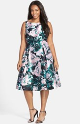 Plus Size Women's Adrianna Papell Floral Print Mikado Party Dress