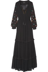 Saloni Alexia Embroidered Fil Coupe Maxi Dress Black