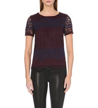 Warehouse Striped Floral Lace Top None