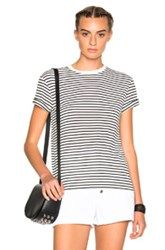 Alexander Wang T By Crewneck Logo Tee In White Stripes White Stripes