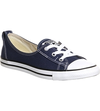 Converse Ctas Lace Up Ballet Flat Trainers Navy