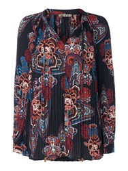 Biba Pleated And Printed Tie Neck Blouse Multi Coloured