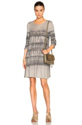 Raquel Allegra Long Sleeve Bell Dress In Gray Ombre And Tie Dye
